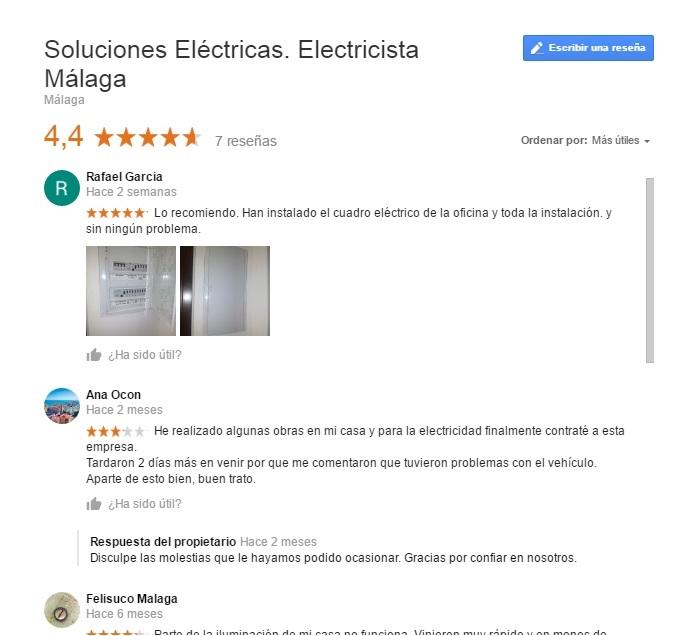 Opiones electricista en Malaga