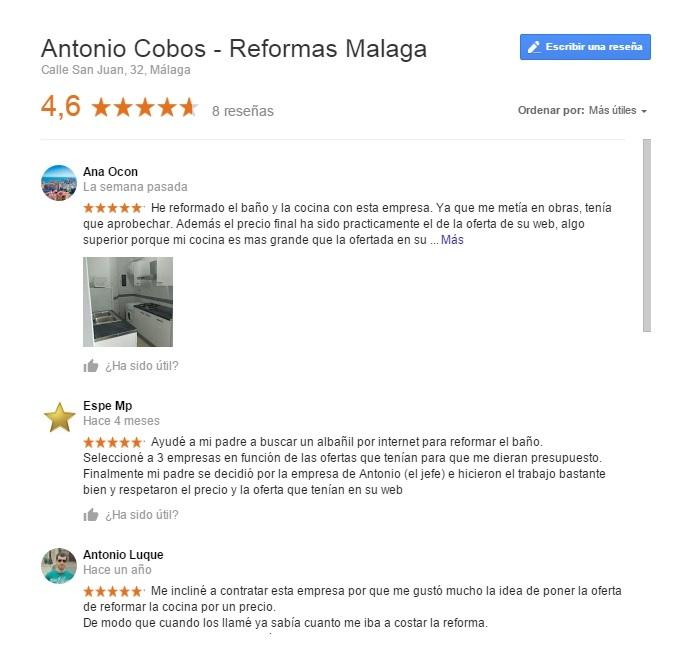 Opiniones de cliente en reformas malaga