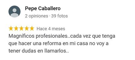Opiniones en perfil profesionales en reformas málaga